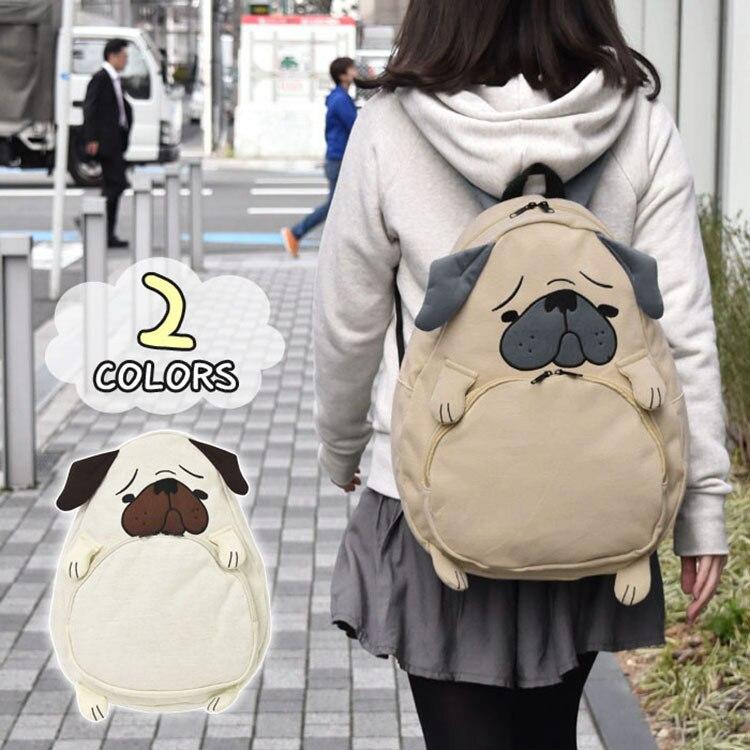 Japansk stil 2 Färg Pug hund Ryggsäck Kvinnor Flicka Student Barnväska Shoolbag Söt Gåva