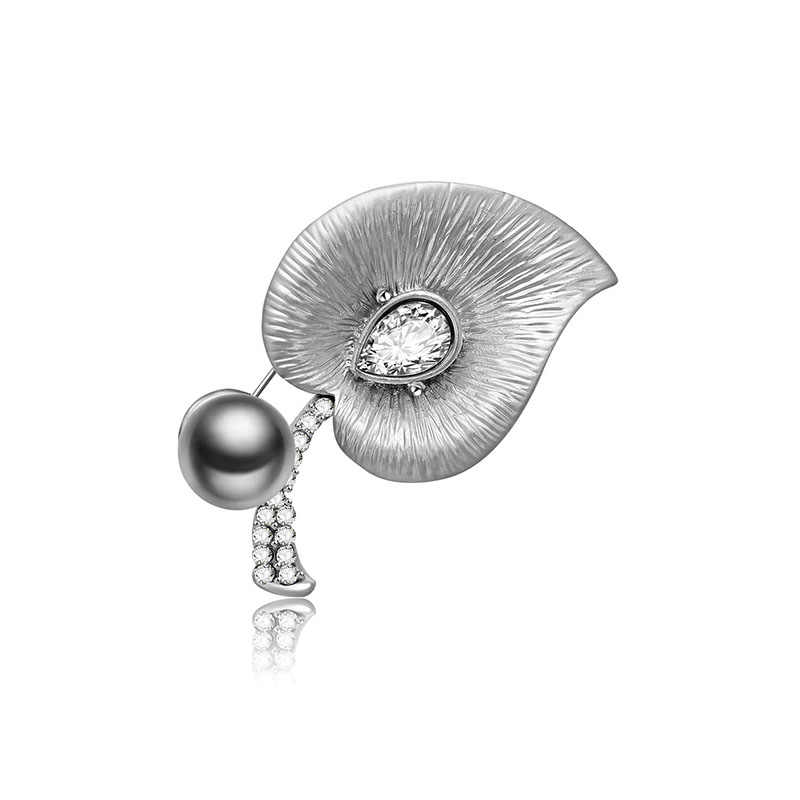 FUNIQUE 2018 เลียนแบบ Pearl Brooches ดอกไม้ Leaf ม้าเข็มกลัด Pins สำหรับป้ายคอคริสตัลเสื้อผ้าเครื่องประดับ