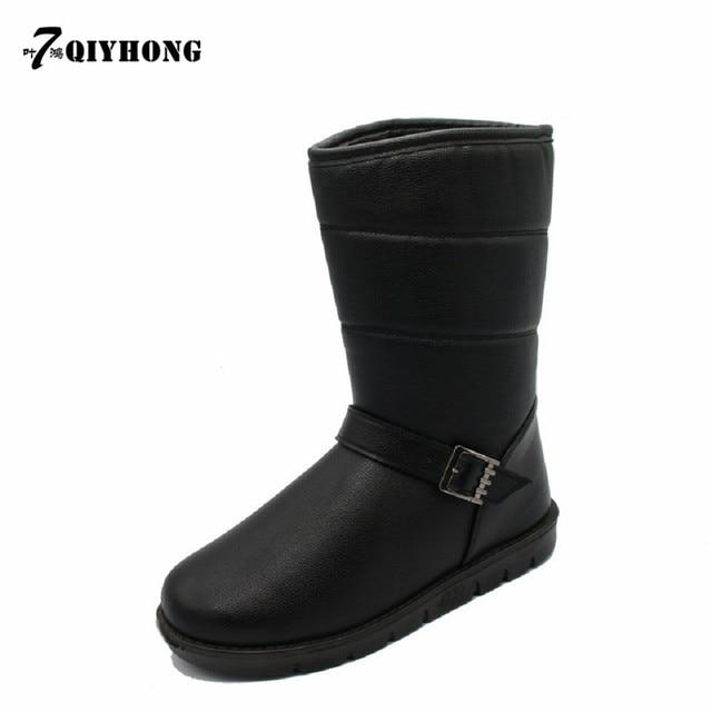 QIYHONG Marca 2016 Invierno Hombres de La Moda Hasta La Rodilla de Alta Botas de Nieve Top calidad A Mantener Calientes Los Hombres Zapatos Negro Y Café Tamaño 39-44