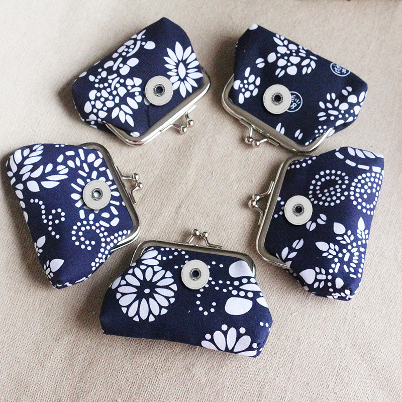 Navy Flowers Pattern Coin Purses Small Wallets Pouch Portable Money Bags 18MM Snap Buttons Jewelry For Gift BL0013 Random