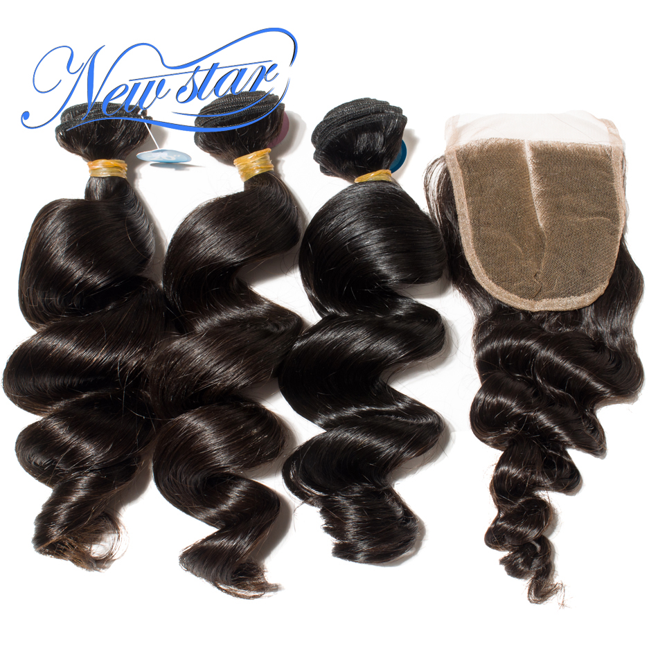 New Star Brazilian Loose Wave Virgin Hair 3 Bundles Weft With A 4x4 Lace Closures 100% Unprocessed Thick Human Hair Weaving