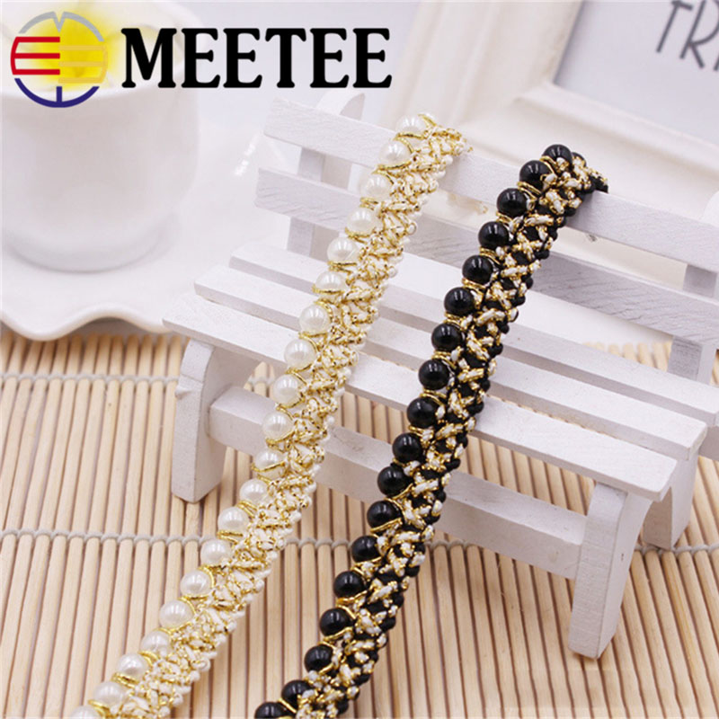 5/10Yards Meetee 1.5cm Beaded Pearl White Gold Trimming Lace Ribbon Trim For Home DIY clothes Sewing Wedding Crafts Decor C6-2