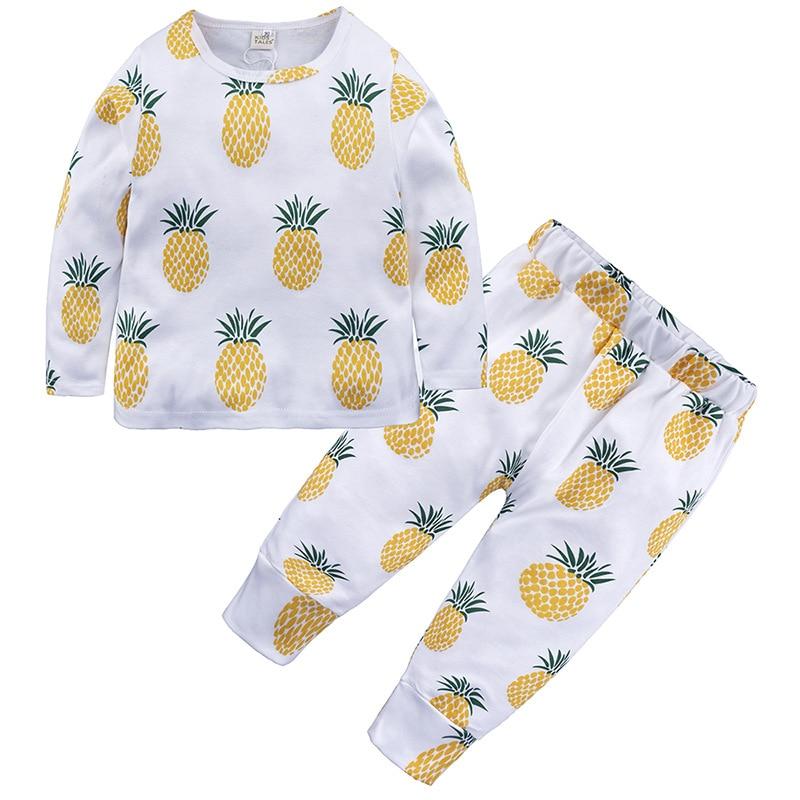 Clever Baby Pyjamas 2 Stücke/anzug Frühjahr Herbst Langarm Baumwolle Pyjama Weiche Jungen Mädchen Neugeborenen Hause Kleidung Schlafanzug Obst Design