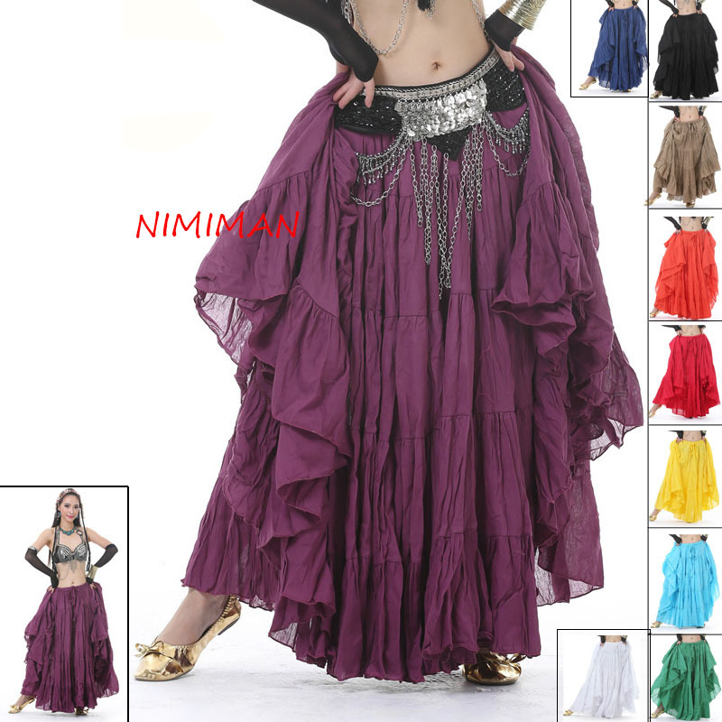 Women Tribal Belly Dance Skirt 12 Colors Lady Long Gypsy Skirts Linen Belly Dancing Practice/Performance Dress NMMQ9006