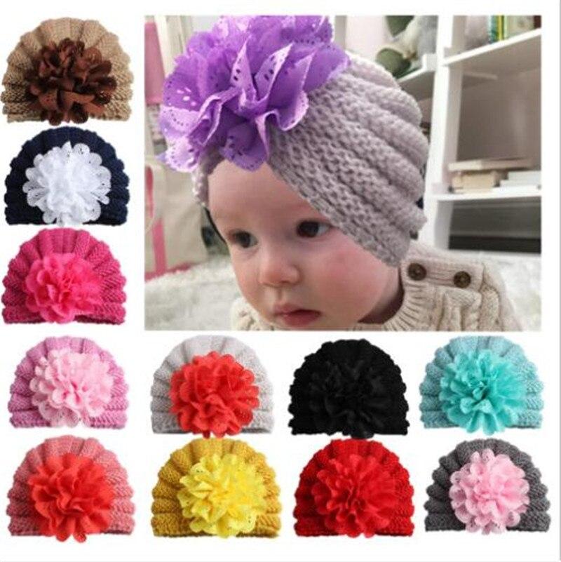 Lovely Big Flower Baby Hat Beanie Infants Knitting Cap