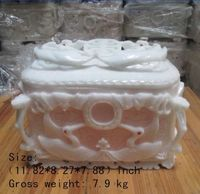 11.82 inch/ Elaborate Chinese hand carved jade urn with birds fish statues
