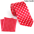 Tailor Smith Natural Pure Silk White Polka Dot Red Necktie Hanky Set Mens Formal Business Wedding Suit Dress Tie Pocket Square