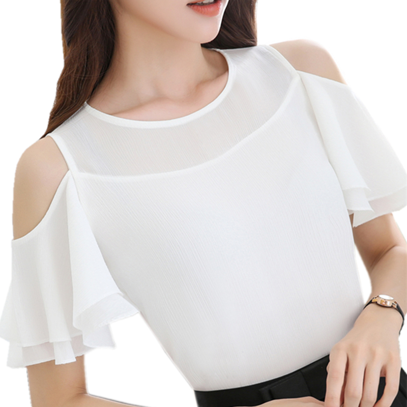 Ladies Causal Off Shoulder Ruffles Shirts Women's White Chiffon Blouses women Tops Camisas Female Bluas Blouse Women Shirt 896B