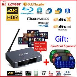 Медиаплеер Egreat A5 4K UHD с HDR Blu-Ray проигрывателем жесткого диска меню навигации ISO Android 5,1 TV Box Spt DOLBY BD-ISO