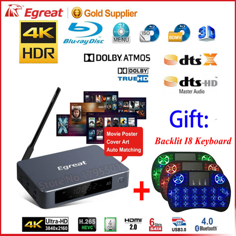 Egreat A5 4 k UHD Media Player avec HDR Blu-ray Disque Dur Lecteur ISO Lecture Navigation Menu Android 5.1 TV boîte Spt DOLBY BD-ISO