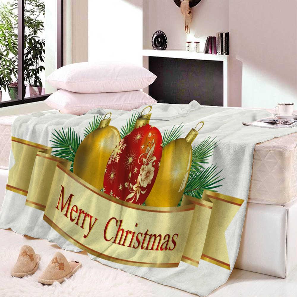 Custom DIY Print Christmas Decoration Throw Blanket Snowflake Plaid And Santa Claus Warm Microfiber Blanket Fleece Blanket