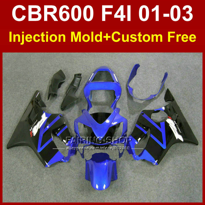 Blue motorcycle fairing parts for HONDA CBR600 F4I 01 02 03 CBR 600F4i 01 02 03 fairings kit cbr 600 f4i 2001 2002 2003 motorcycle parts for honda cbr 600 f3 fairings 1997 1998 cbr600 f3 97 98 black silver seven star fairing kit d6