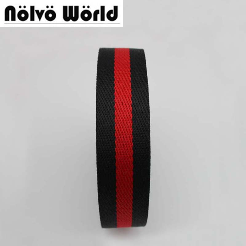 32MM 1 2 inch Wide 1 5mm Thick Black Red color twill pattern nylon ribbon tape