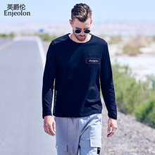 Enjeolon Brand Autumn Men T shirt Long Sleeved O-neck Casual Fashion 100% Cotton Embroidery Male Top Tee Shirt RST7413-1