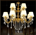 Free Shipping AC100-240V Romantic Brass chandelier Copper Chandelier Pendant K9 Golden Crystal Penadnt Lamp 100% Guaranteed
