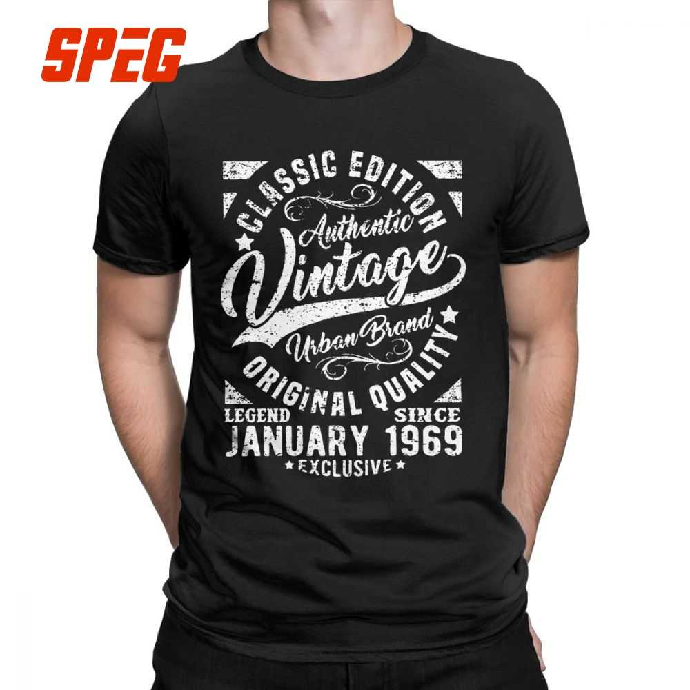 Mens T Shirts Vintage Since January 1969 Retro Short Sleeves 50th Birthday Tees Crewneck Clothes Cotton