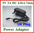 2pcs UK 5V 3000mA 3A Power Supply Adapter Charger DC 4.0x1.7mm / 4.0*1.7mm