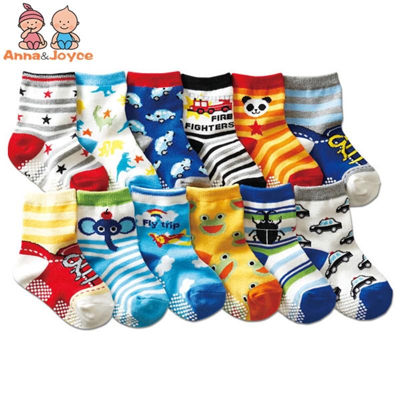 12 Pairs/lot Cotton Baby Socks Rubber Slip-resistant Floor Socks Cartoon Small Kid's Socks 1--3 Baby