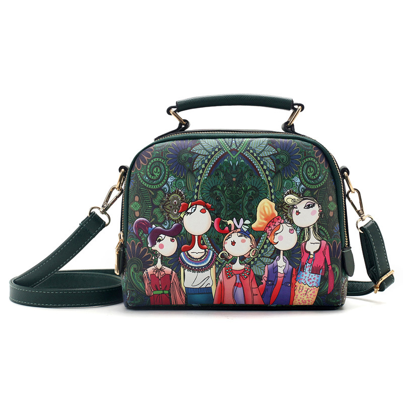 Cartoon Printing Women Bag Runda Frame Sequins Axelväska Girl - Handväskor - Foto 1