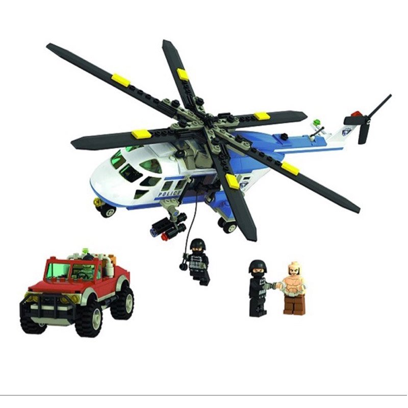 Winner 405pcs Series Building Blocks City Police Helicopter Toy Building Blocks Assembled Legoe Compatible
