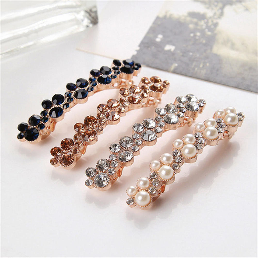 Hot Sale 5 Colors Korean Crystal Elegant Crystal Pearl Hair Clip Women Barrettes Hairgrips Hair Accessories Styling Tools in Hair Clips Pins from Beauty Health
