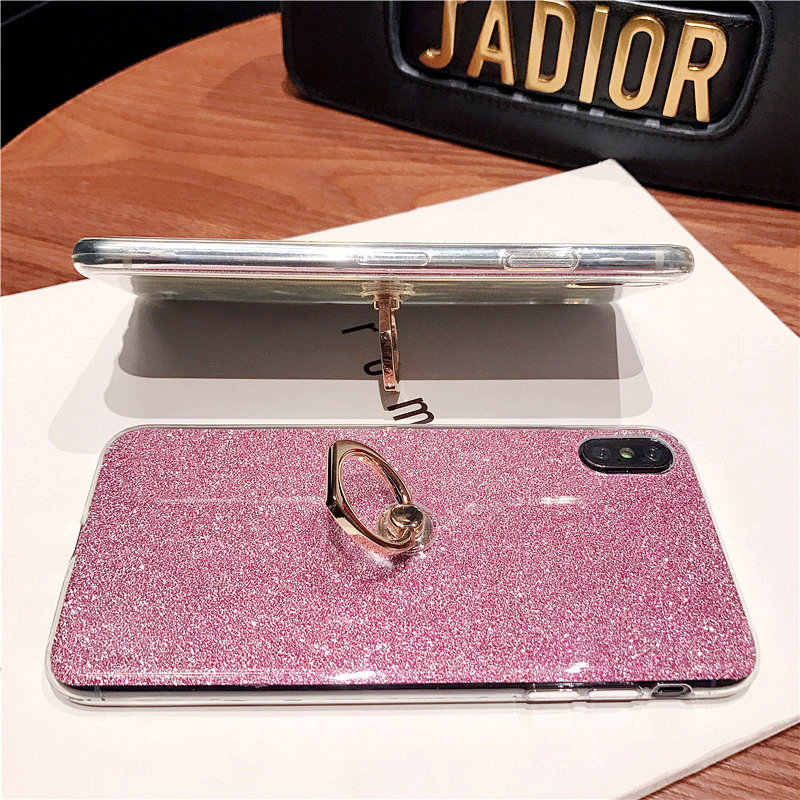 Silicone Bling Glitter Phone Case For Honor 10 Lite 8X 8C Soft TPU Ring Cover For Huawei P20 P30 Pro Mate 20 Lite Y9 2019 Cover