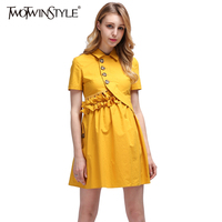 TWOTWINSTYLE 2017Summer Mini Party Dresses For Women Female Short Sleeve Button Ruffle High Waist Backless Sexy