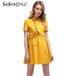 211bbaa5c TWOTWINSTYLE de espalda verano mujeres Sexy vestidos de fiesta de noche  vestido Mini de manga corta