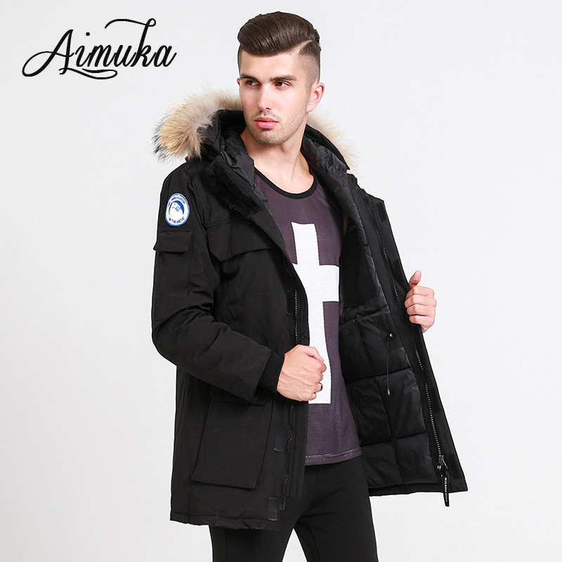 Men's   down   jacket Winter white duck   down     coat   Casual hooded camouflage   down   jacket solid thick Long Winter   coat
