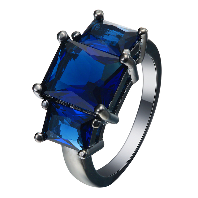 vintage wedding ring royal blue zirconia crystal large square cz