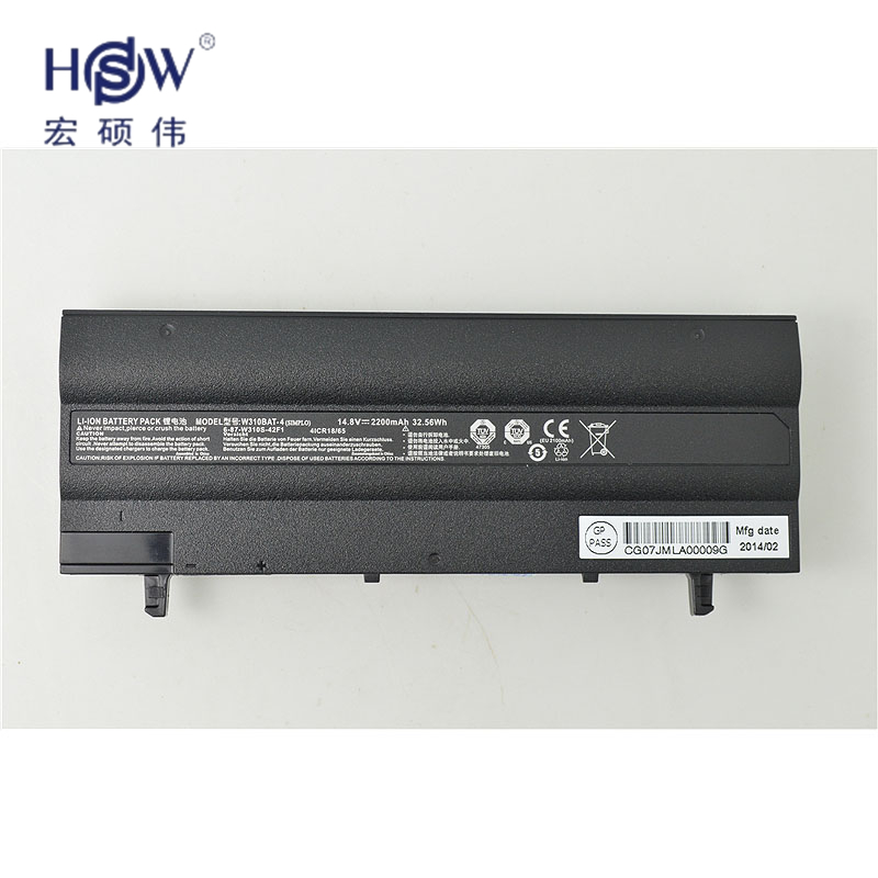 HSW   laptop battey FOR CLEVO 6-87-W310S-42F,W310BAT-4 for clevo W130 new and notebook battery batteriabateria hot sale original quality new laptop battery for clevo d450tbat 12 d450t 87 d45ts 4d6 14 8v 6600mah free shipping