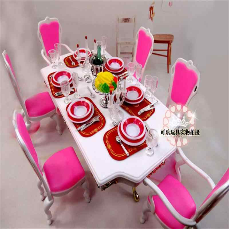 For Barbie Doll Furniture Accessories Plastic Toy Pink Dining Table Tableware Candle Holders Chair Play House  Gift Girl DIY