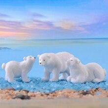 1PC Cute Mini Simulation White Bear Polar Bear Figurines Hom