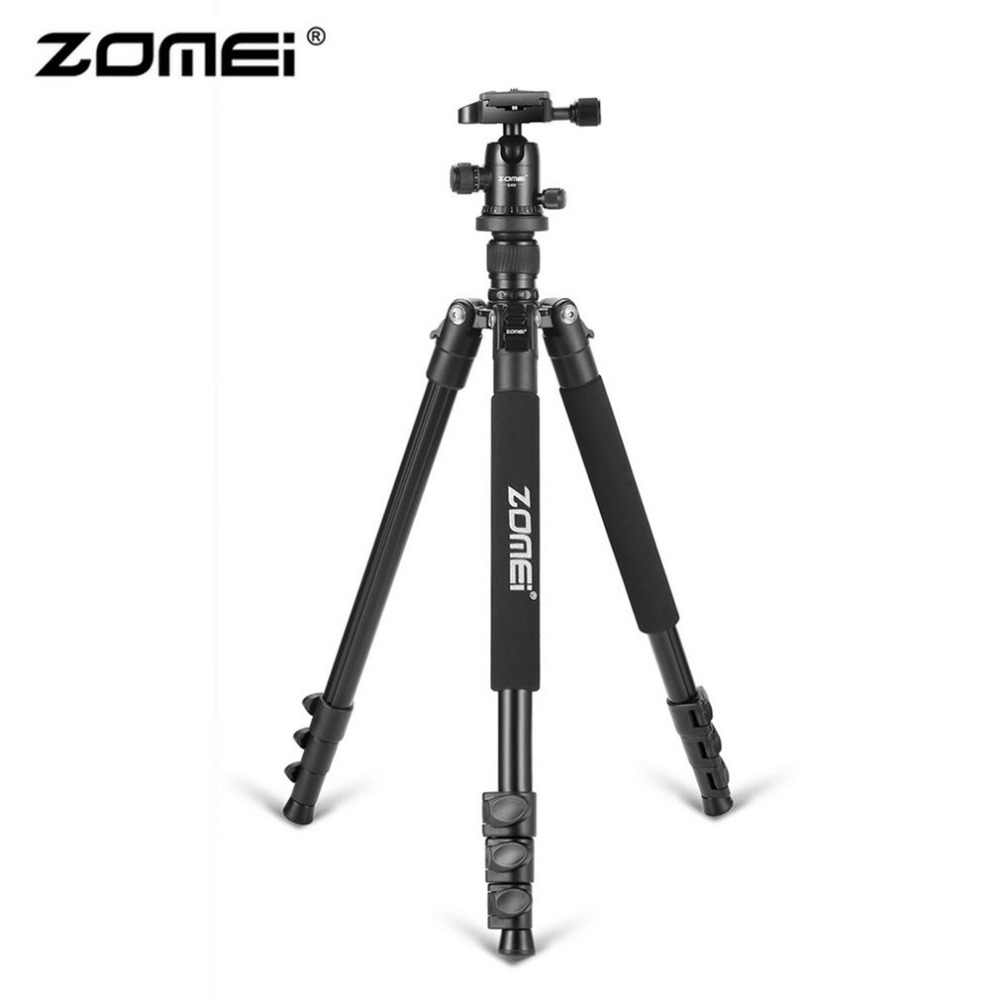 Zomei Q555 Professional Aluminum Camera Tripod Stand For DSLR Carmera With Ball Head Quick-Release Plate & Carrying Case zomei q555 lightweight alluminum alloy camera tripod with 360 degree ball head 1 4 quick release plate for canon nikon sony