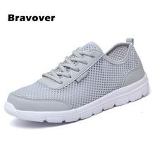 Bravover мужская обувь летняя мода mesh дышащие любителей сверхлегкие обувь зашнуровать высокое качество повседневная обувь плюс размер 35-46