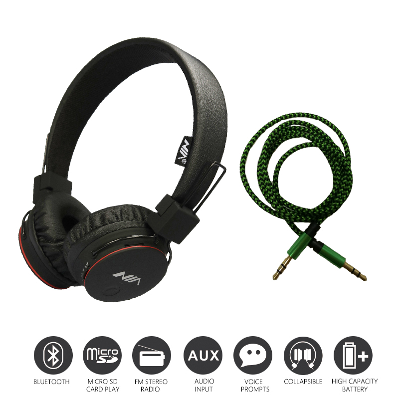Economic Set: Original NIA X2 + AUX Cable a Set Bluetooth Headphones Wireless Headsets headphones with Microphone economic set original nia 8809s 8 gb micro sd card a set wireless headphone sport for tv with fm