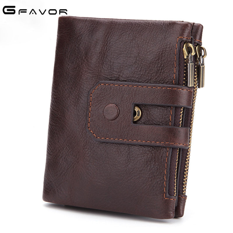 G-FAVOR Genuine Leather Men Wallet Coin Purse Small Male Cuzdan Wallet Portomonee Rfid PORTFOLIO Vallet Money Bag Card Holder