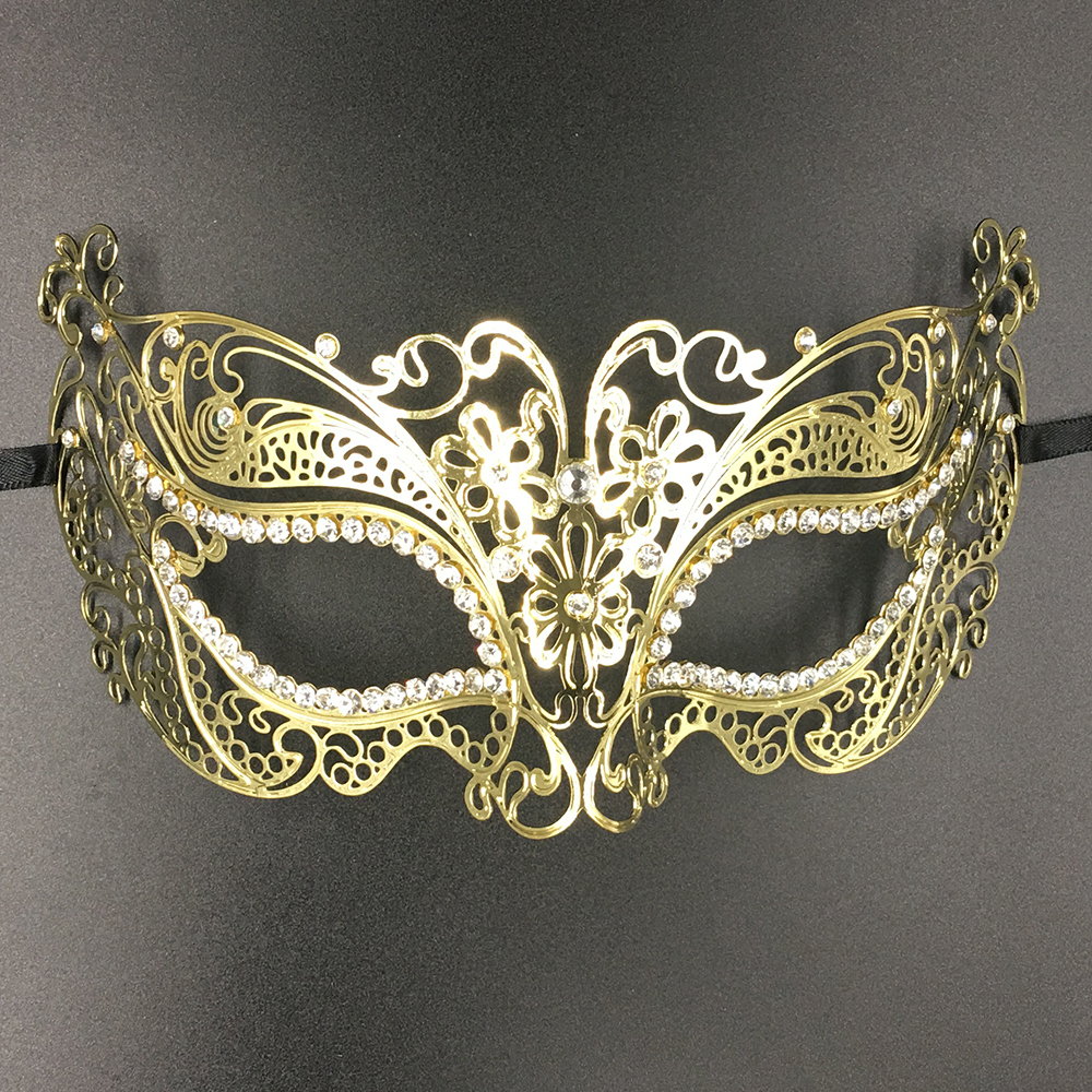 Women Flower Glossy Metal Laser Cut Venetian Masquerade Mask Rhinestone  Vine Black Party Birthday Wedding Show Mardi Gras Masks-in Party Masks from  Home ... 04a03355ce1b