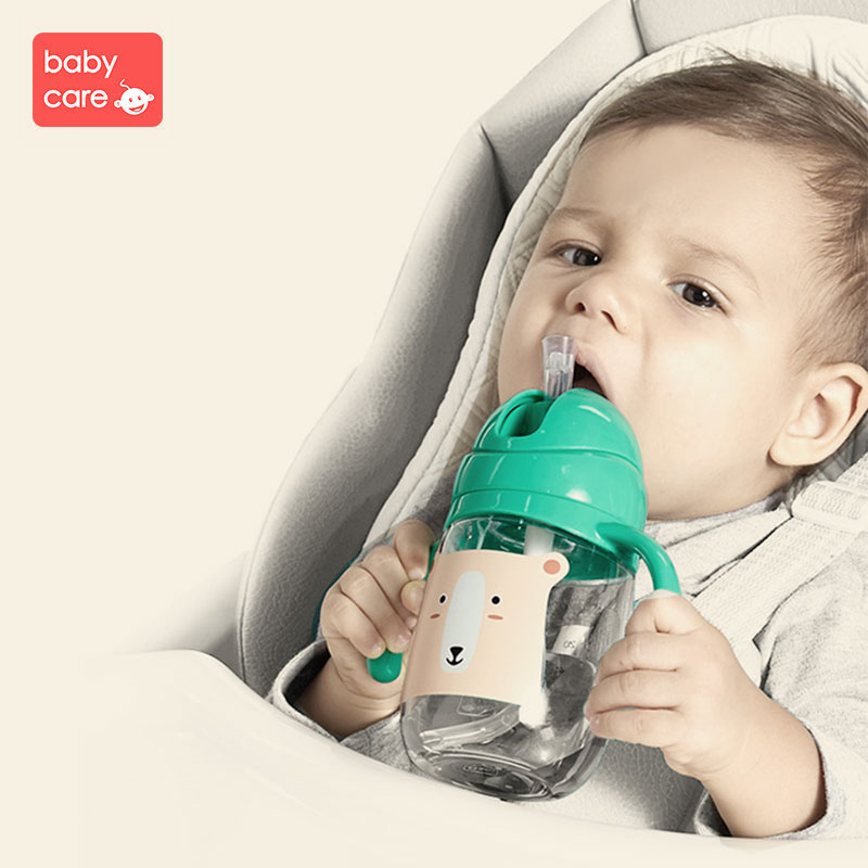 Babycare 420ml Baby Water Bottle Infant cartoon Handle Silicone Straw Training Cup Kid Flip Lid Leak Proof Tritan Water Bottle ...