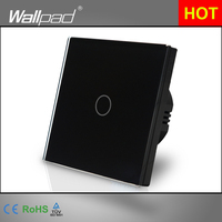 EU Standard Wallpad Black Touch Control Switches 1 Gang 2 Way Crystal Glass Panel Wall Touch