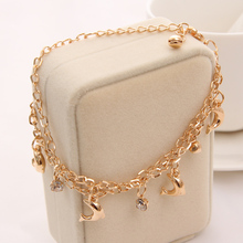 Heart Butterfly Charm Bracelet (Gold Color)