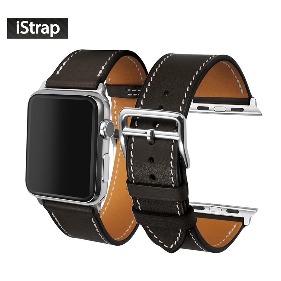 iStrap Black Brown France Genuine Calf Leather Single Tour Bracelet Watch Strap For Iwatch Apple Watch
