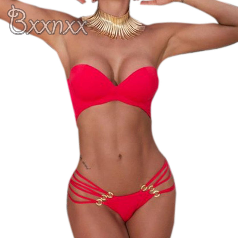 2016 New Sexy String Push Up One Piece Swimsuit Women Bandeau Solid Swimwear Red Black Bathing Suit Thong Strappy Swim Wear women one piece triangle swimsuit cover up sexy v neck strappy swimwear dot dress pleated skirt large size bathing suit 2017