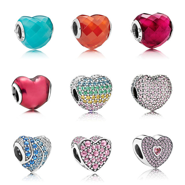 925 Sterling Silver Multicolor Heart Zircon Beads Fit Original Pandora Bracelet Beads Silver 925 Valentine's Day Jewelry