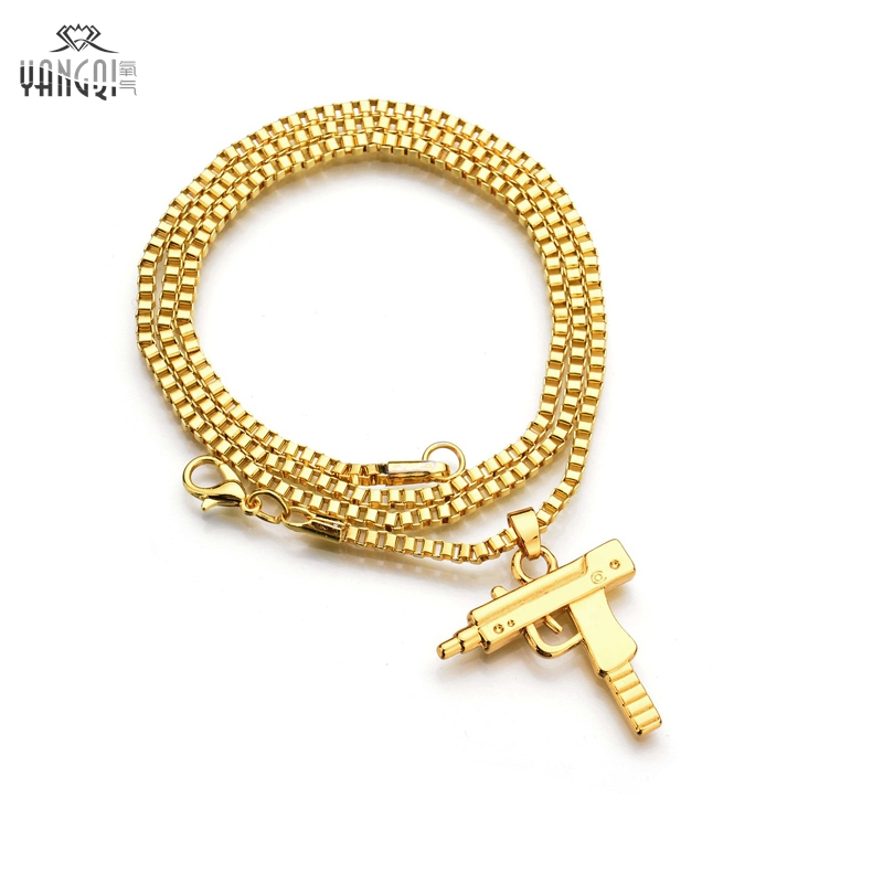 hip hop jewelry letter gun necklace silver gold plated