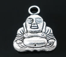 "DoreenBeads Zinc metal alloy Charm Pendants Maitreya Buddha Antique Silver 20mm( 6/8"") x 17mm( 5/8""), 4 PCs new(China)"