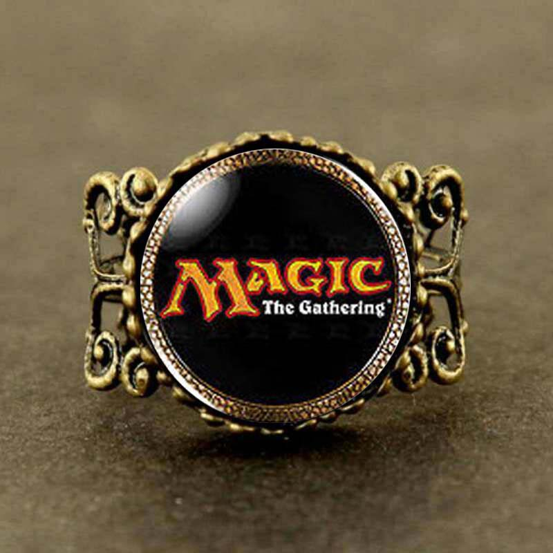Magic the Gathering MtG Logo Cards Card Mens brass silver Ring steampunk Jewelry Gift wo ...