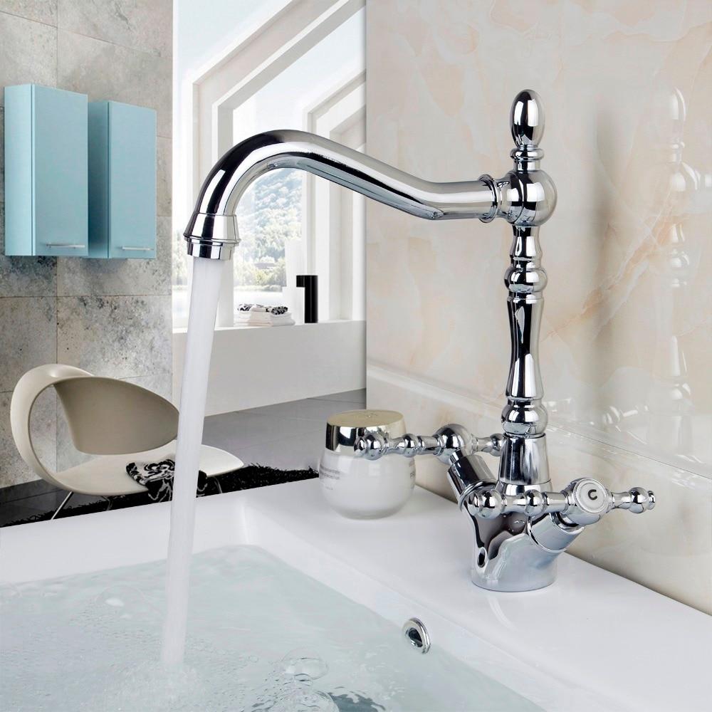 Modern Double Handles Kitchen Sink Faucet W/ 360 Degrees Swivel Spout Deck Mount 8632-3 Single Hole Faucets,Mixers & Taps antique brass swivel spout dual cross handles kitchen