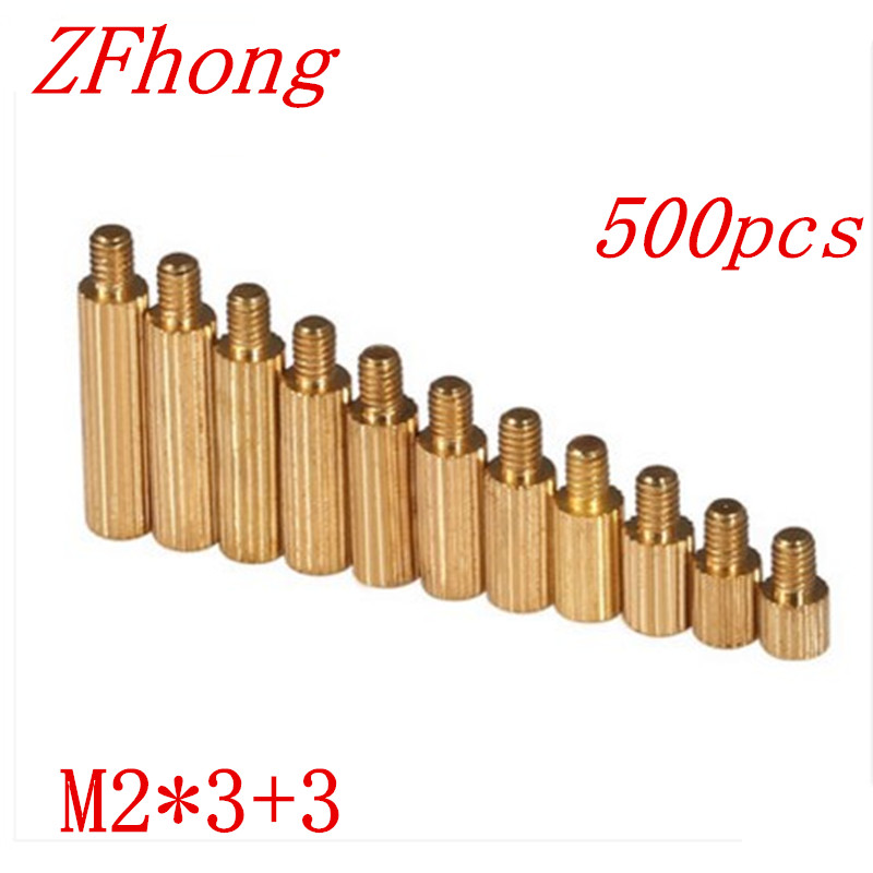500pcs/lot <font><b>M2</b></font>*3+3 <font><b>m2</b></font>*3 Brass Round Standoff Spacer Male Female <font><b>M2</b></font> Brass Threaded Spacer image