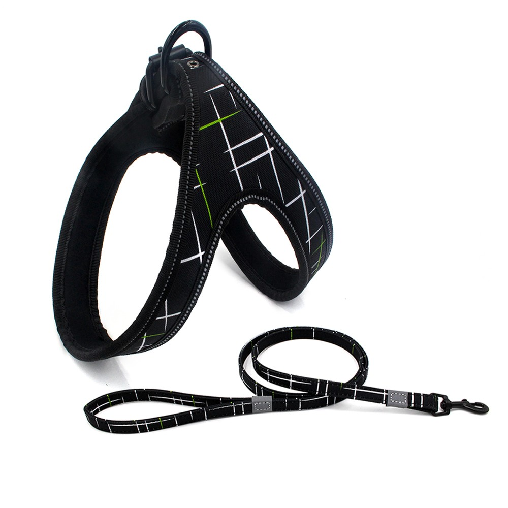 Reflective Nylon Dog Harness Adjustable Strap For Medium Large Dogs Pitbull German Shepherd the Same Dog Leash as Gift in Harnesses from Home Garden